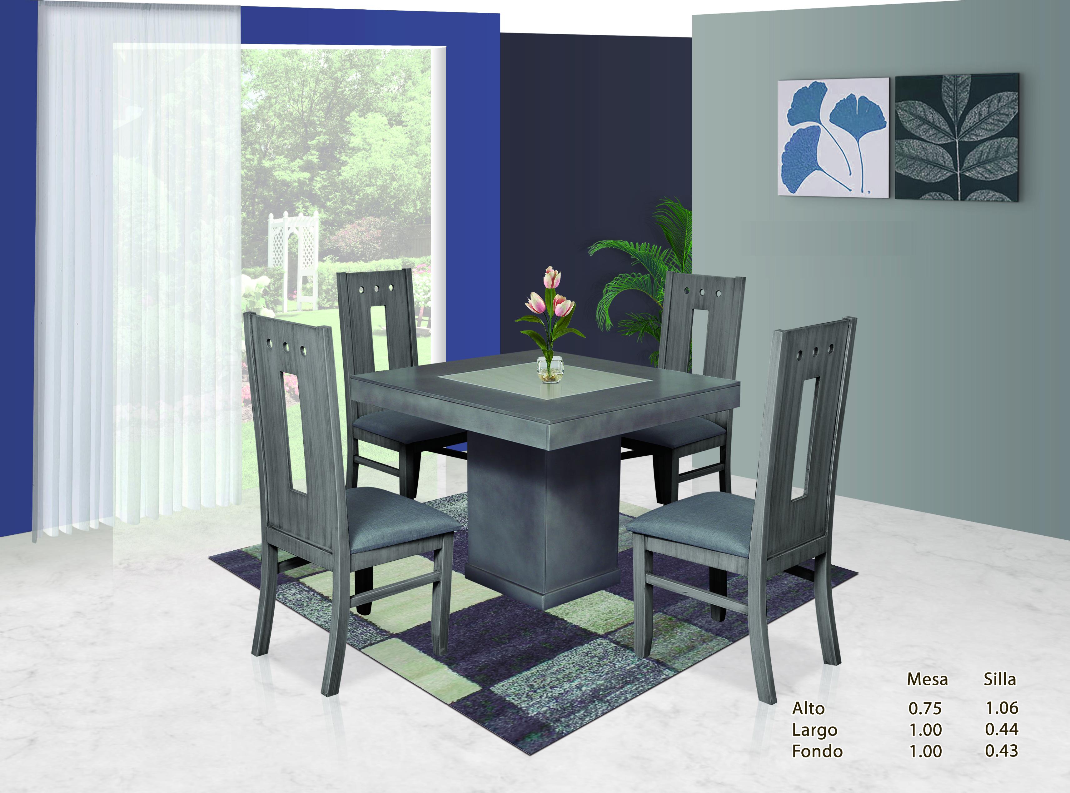 Paquete daxi recamara k s comedor 4 sillas y centro de for Sillas para recamara